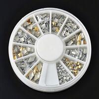120 Pcs Gold Silver 3D Metal Nail Art Tips Metallic Studs Stickers Decoration JP