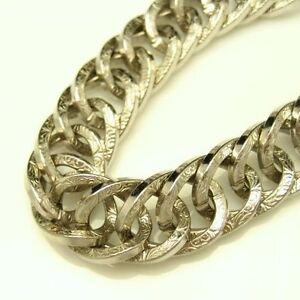 GERMANY-Vintage-Chunky-Statement-Bracelet-Wide-Engraved-Links-Silvertone