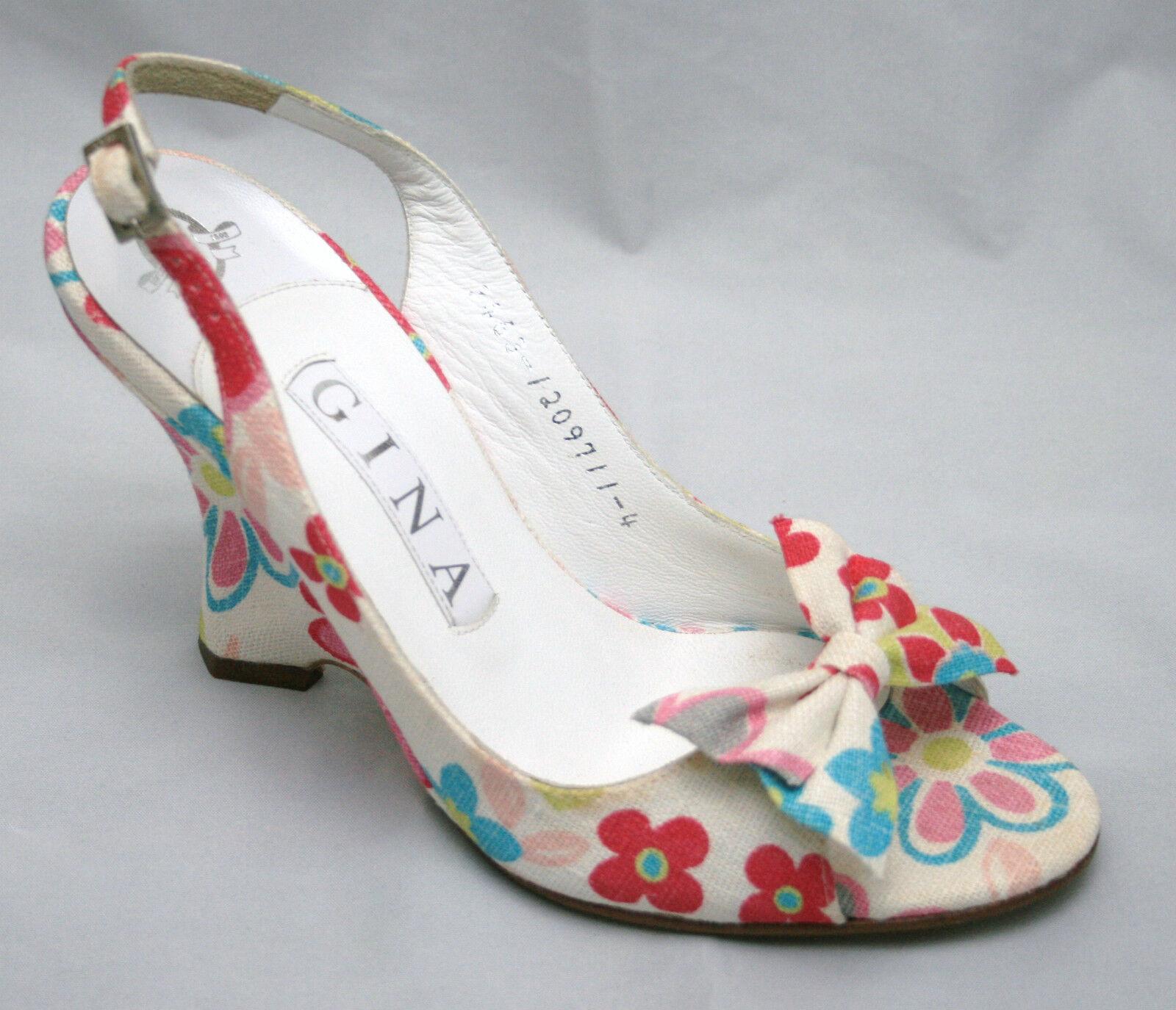 Fantástico Gina Floral Print Print Print Peep Toe Sandalias Uk 5 BNWT,  moda clasica