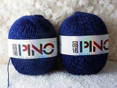 2*50g Skeins Soft Luxury 95% Mink Cashmere Knitting Yarn;Lace;100g;deep blue