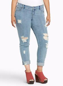 df143f776f1 Image is loading Torrid-Boyfriend-Cropped-Capri-Pants-Light-Ripped- Destruction-