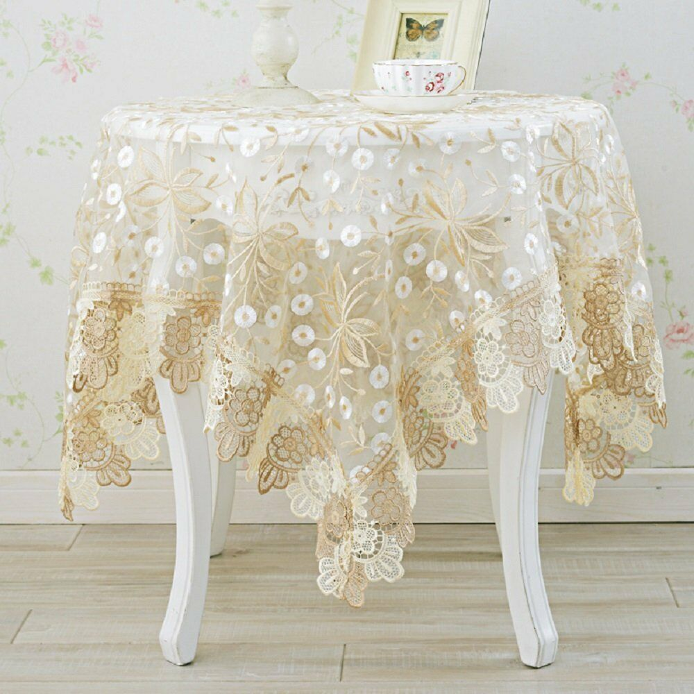 European Lace Tablecloth Rustic Flowers Embroiderouge Table Cloth decorate fashion