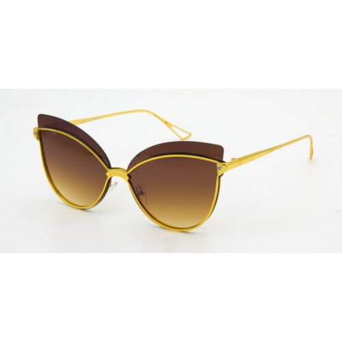 Women/'s Girl Sunglasses Fashion Cateye Yellow Gold Frame Metal Female Shades HOT