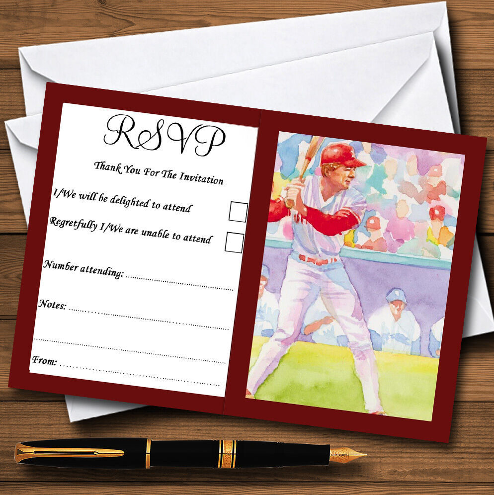 Baseball Personalised Wedding or Party RSVP Cards