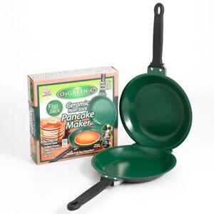 As-Seen-on-TV-Flip-Jack-Pancake-maker-Ceramic-Green-NonStick-Cookware-Pan-New