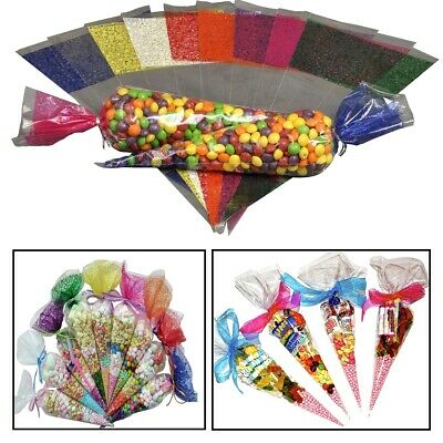 50x Cone Clear Candy Birthday Party Gift Display Cellophane Cello Treat Bags STU