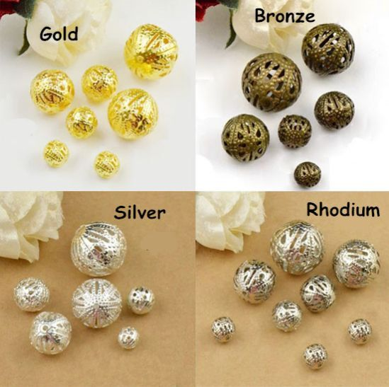4mm 6mm 8mm 10mm Gold/Silver Plated Metal Filigree Spacer Loose Beads DIY Jewelr