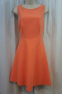 Betsey-Johnson-Dress-Sz-10-Tangerine-Cutout-Back-Fit-And-Flare-Cocktail-Party