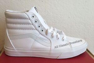 79ab432e2b9ab4 Vans Classic SK8 Hi Top True White Fashion Mens Womens Canvas Shoes ...