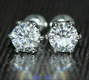 3-Ct-Round-Brilliant-Cut-Moissanite-Solitaire-Stud-Earrings-In-14K-White-Gold-Fn