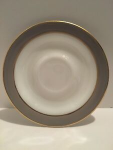Vintage Pyrex Dinnerware Saucer Plate with Dove Gray Band \u0026 Gold Trim ... & Glassware