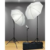 Photography Studio Lighting Kit Professional Light Stands Umbrella 3 Point