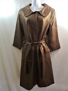d6d9e5bf3f ZARA WOMAN Size L Brown Metallic 100% Flax Linen Lightweight Jacket ...