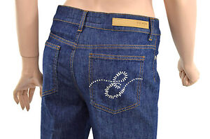 350-ESCADA-Jeans-Bleu-Kate-Cristaux-Logo-Femme-en-EU-34-US-4