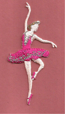 Dance - Ballet - Ballerina In Fuchsia - Embroidered Iron On Applique Patch