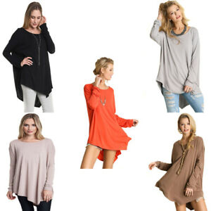 UMGEE-Womens-Flowy-Asymetrical-Stretch-Knit-Chic-Long-Sleeve-Top-Blouse-S-M-L