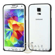 Samsung Galaxy S5 Protective Bumper Chrome Metal Black Cover Shell Protector
