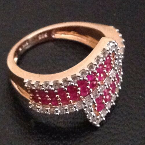 14k Solid Yellow Gold  Ring Natural Sapphires and Rubies Made in Switzerland