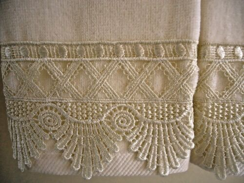 CREAM LACE Fingertip or Guest Towels 2 IVORY Velour Cotton NEW by UtaLace