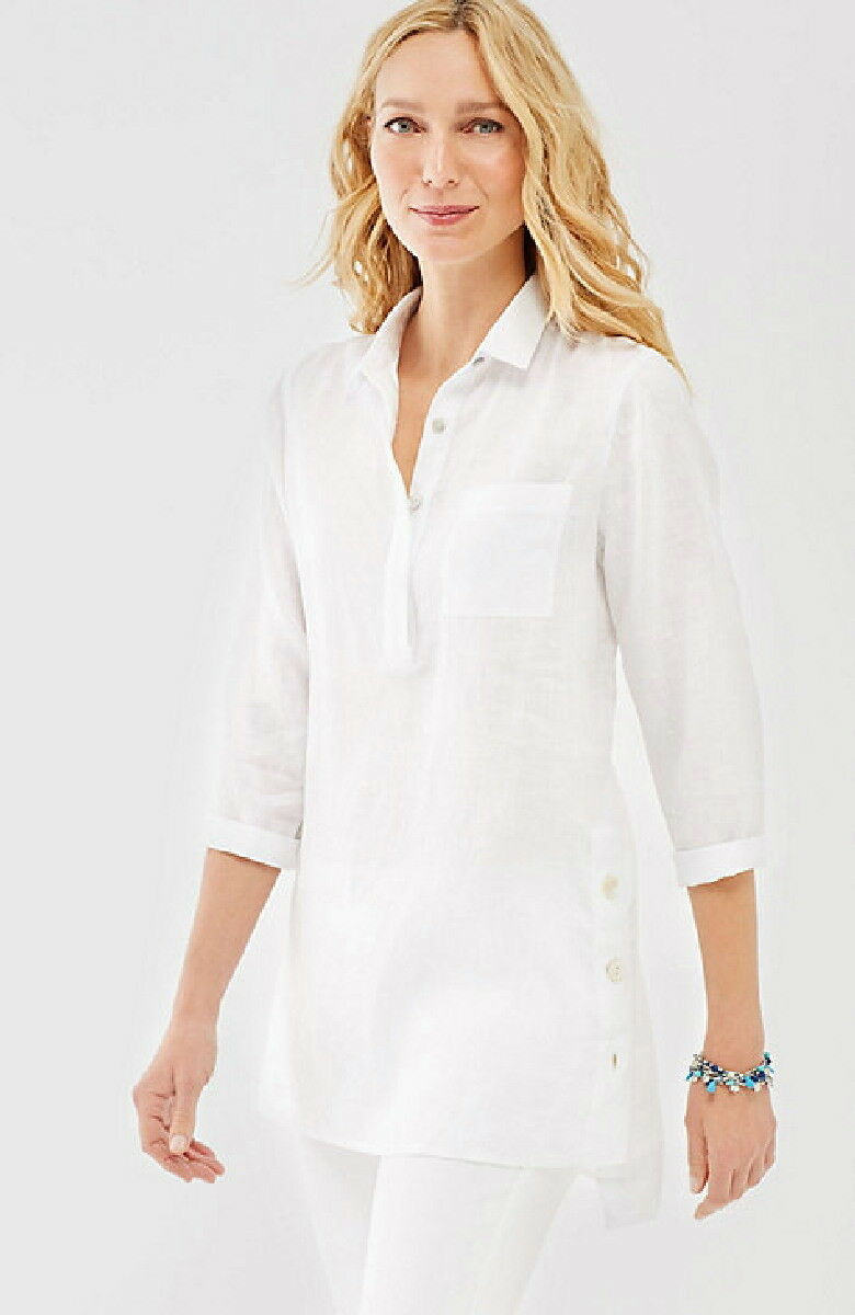 J.Jill  Linen Side Button Tunic  Shirt  4X  NWT   TUNIC  Weiß