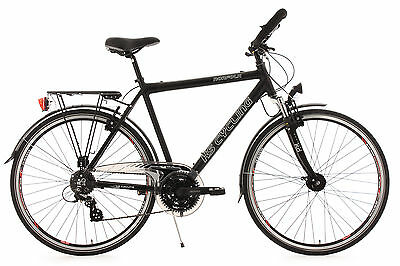 "28"" MEN'S TREKKING BIKE 24 GEAR ""NORFOLK"" BLACK ALUMINIUM 53 CM KS CYCLING 140T"