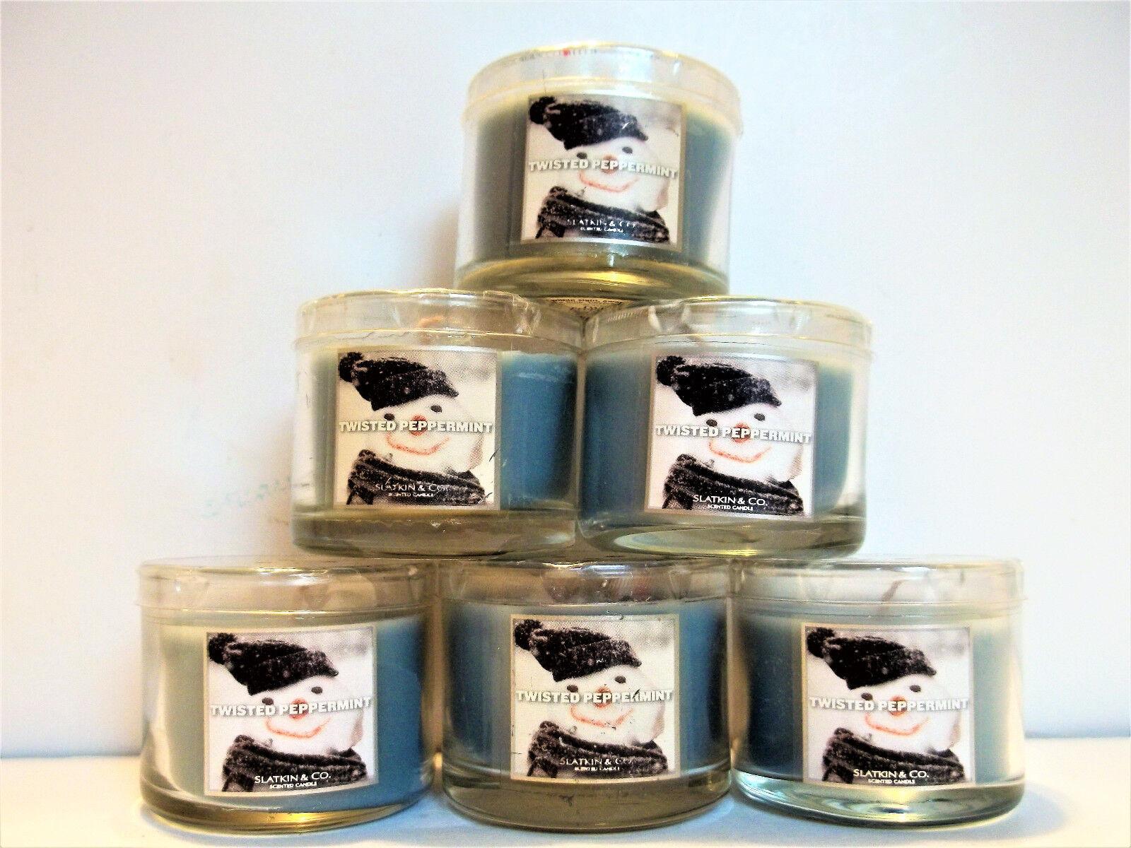 Bath Body Works Slatkin TWISTED PEPPERMINT Mini Candles, glass, 1.3 oz., NEW x 6