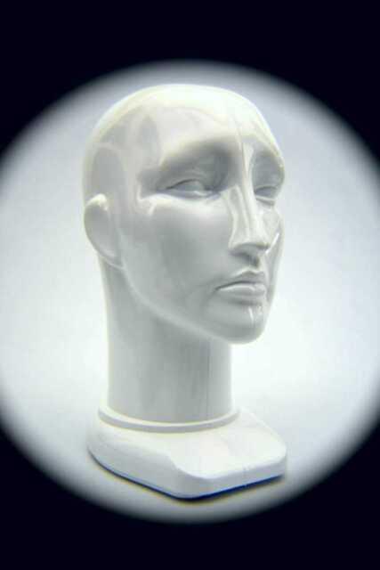Unisex Head Form Mannequin Display. Rigid White Plastic.