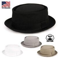 Classic Men's 100% Cotton Solid Fedora Porkpie Stingy Brim Round Top Hat Cap