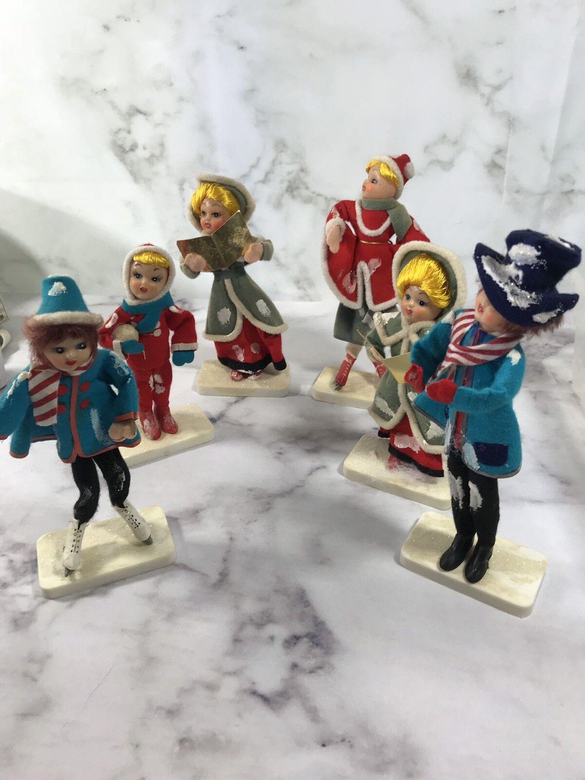 VINTAGE Set of 6 DOLLS on Display Stands Christmas Snow Caroling MADE IN JAPAN