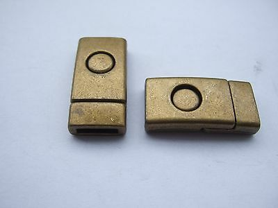 5 Set Antique Bronze Strong Magnetic Clasp 10x2mm For 5mm 10mm Flat Leather Cord