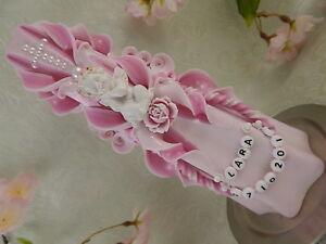 Geschnitzte Taufkerze rosa mit Engelchen Taufkerzen für Mädchen handmade