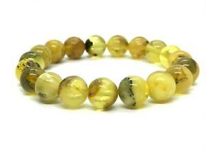 AMBER-BRACELET-Natural-BALTIC-AMBER-Round-Beads-Yellow-Elastic-Ladies-10g-12532