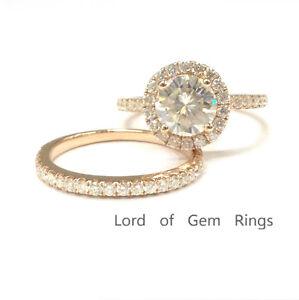 7mm Moissanite Engagement Halo Ring 14k Rose Gold 1 5mm Moissanite