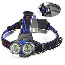Camping 6000LM 2xXM-L T6 LED Stirnlampen Kopflampe Headlamp Torches AAA AA 18650
