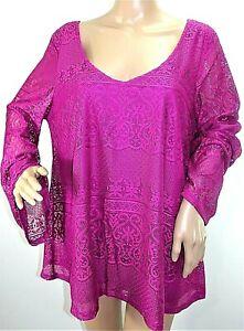 N Touch Women Plus 1x 2x 3x Pink Fuchsia Lined Mesh Lace Tunic Top Blouse Shirt