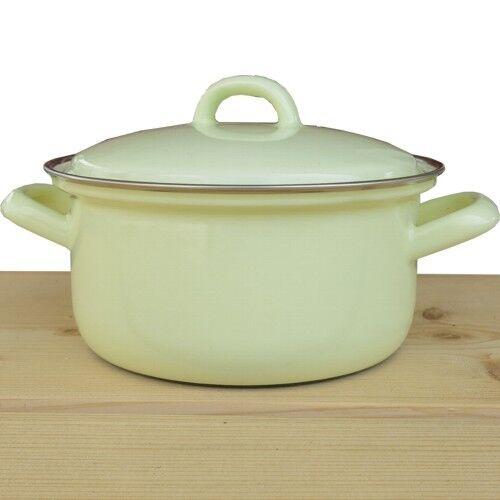 Riess EMAILLE Pot 16 Cm Vert Marmite avec couvercle pastelles EMAIL