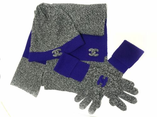 Chanel Cashmere Scarf Hat Glove Set Gray