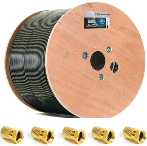 +20VG-Stecker Schwarz 500m 135db SAT TV Kabel Antennen Koaxial Stahl-Kupfer 8K