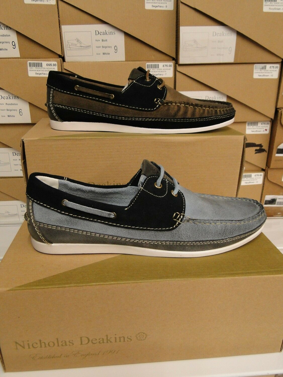 NEW NICHOLAS DEAKINS ' PENDLETON ' MENS SUEDE BOAT SHOES DISTRESSED LOOK