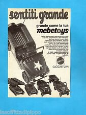TOP974-PUBBLICITA'/ADVERTISING-1974- MATTEL - MEBETOYS JEEP MILITARE