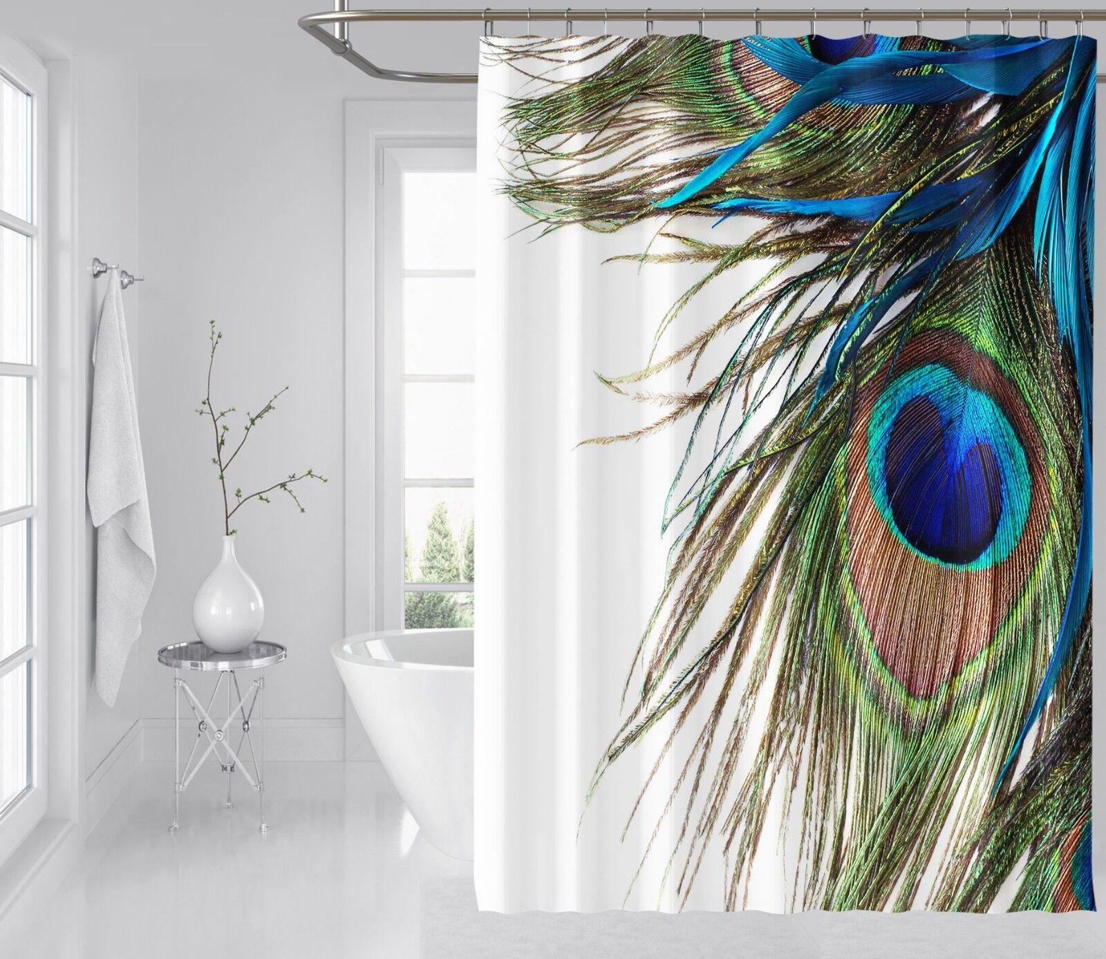 3D Pfau Feder Bild 7 Duschvorhang Wasserdicht Faser Bad Daheim Windows Toilette | Wirtschaft