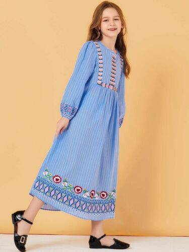 Abaya Muslim Women Mother /& Daughter Maxi Dress Embroidery Girls Islamic Dubai