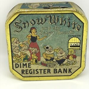 vintage snow white dime register bank registers locks unlocks white
