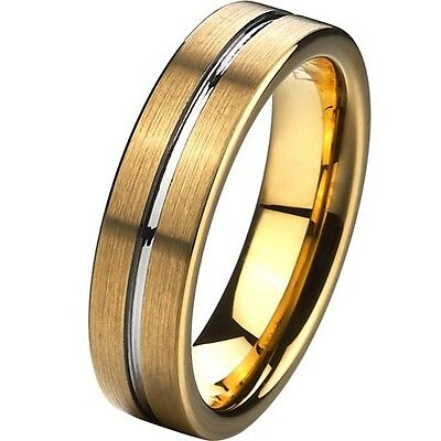 6MM Gold Tungsten Ring Grooved Comfort Fit Engagement Wedding Band SZ 7-15 NEW