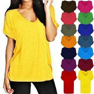 6a1fee1a Ladies Batwing Sleeve Oversized Baggy Loose Fit Women Turn Up V Neck ...