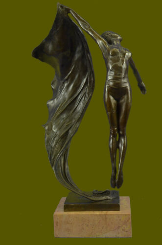 Real Aldo Vitaleh Tall Nude Lean Woman Bronze Sculpture Marble Base Statue EG