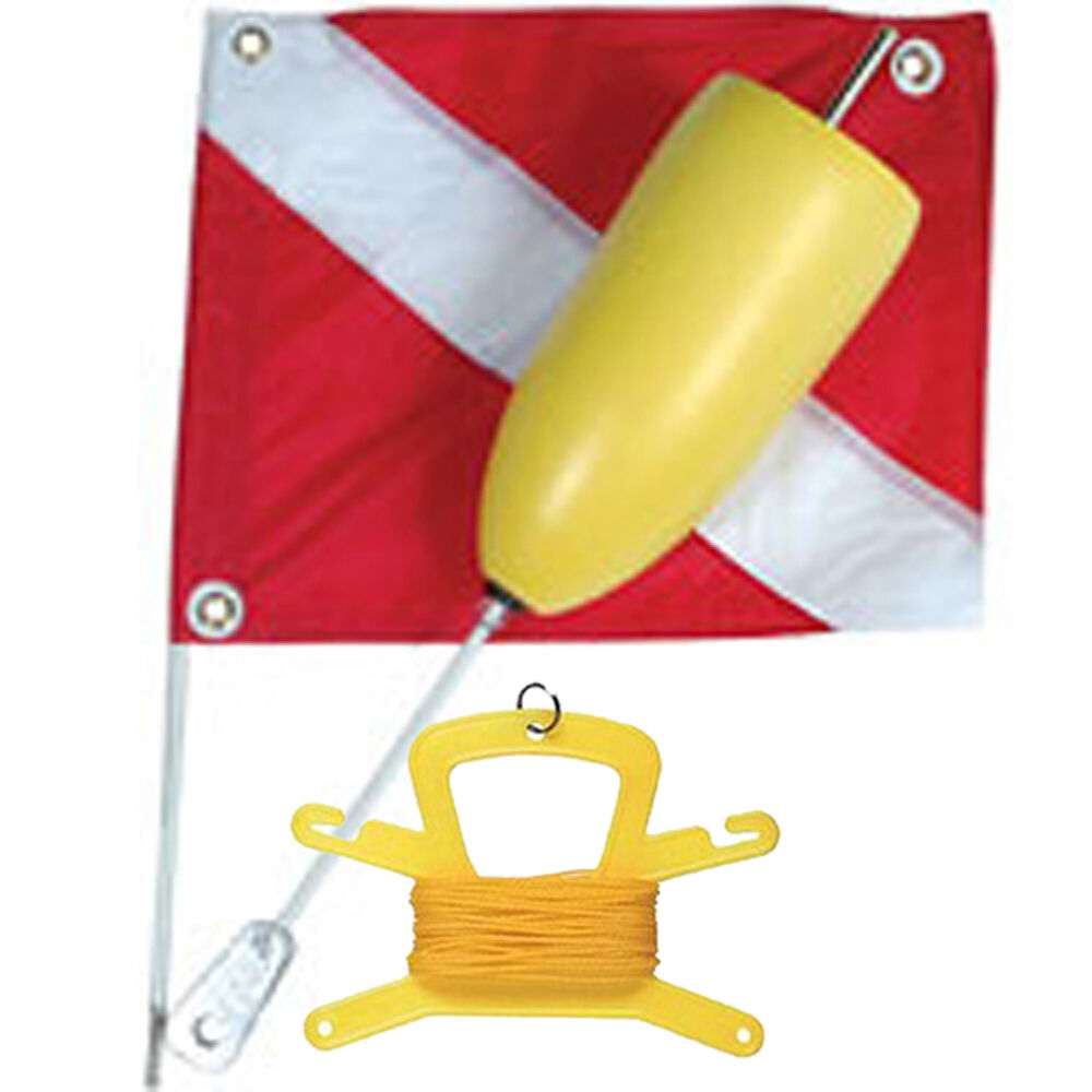 Torpedo Foam Dive Float with 14x18 Nylon Dive Flag & 100FT Yellow Poly Line
