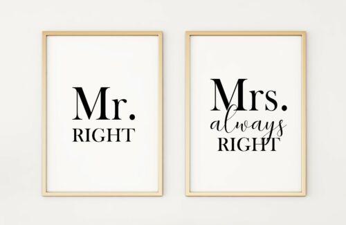 Mr /& Mrs Always Right Set de 2 AFFICHE A4 Imprime PO285