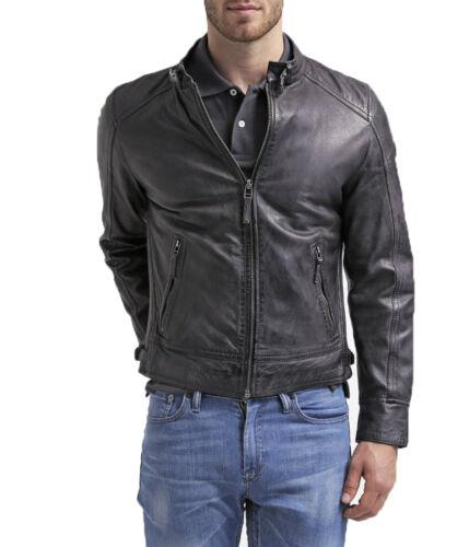 UK Man Men GENUINE Leather Jacket Biker Coat Slim Fit Veste Homme Cuir R67