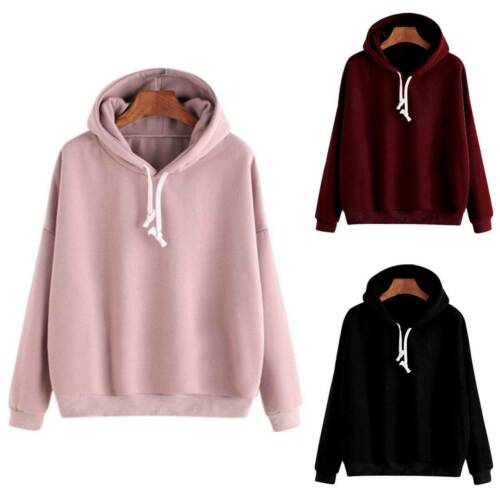 Damen Hoodie Sweatshirt Pullover Jumper Fleece Mantel Pulli Tops Kapuzenpullover